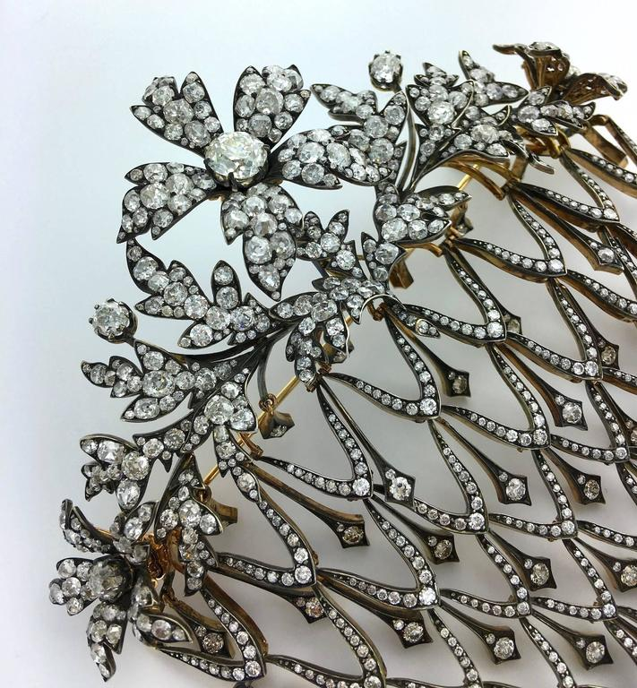 Impressive Diamond Flower En Tremblant Stomacher Hair Ornament Brooch 4