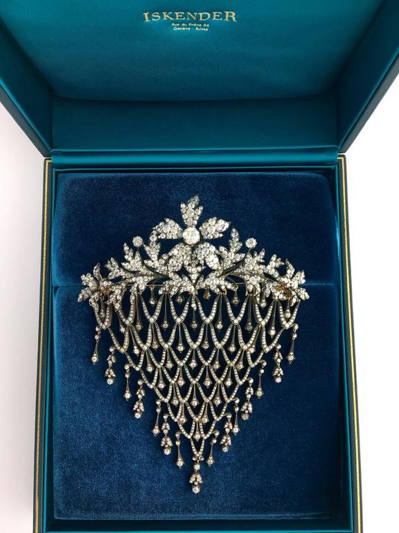 Impressive Diamond Flower En Tremblant Stomacher Hair Ornament Brooch 9
