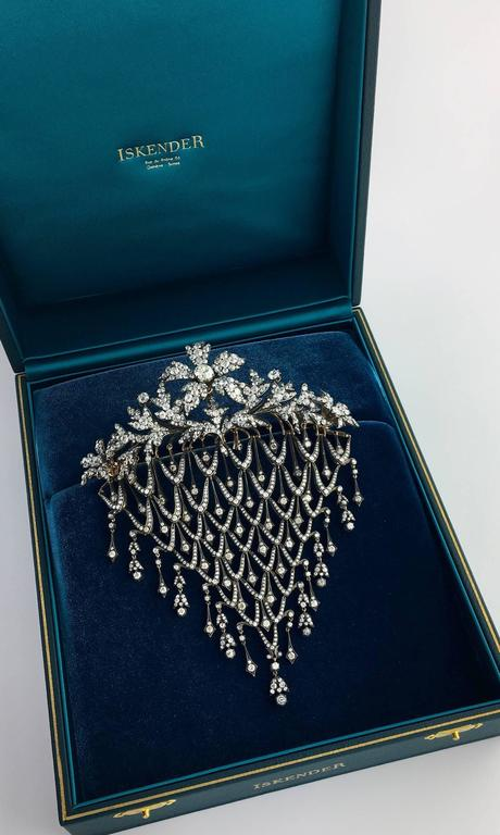 Impressive Diamond Flower En Tremblant Stomacher Hair Ornament Brooch 10
