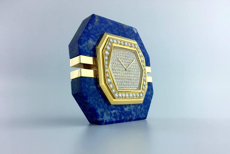 1980 Boucheron Diamond Lapis Lazuli Gold Clock For Sale At 1stdibs