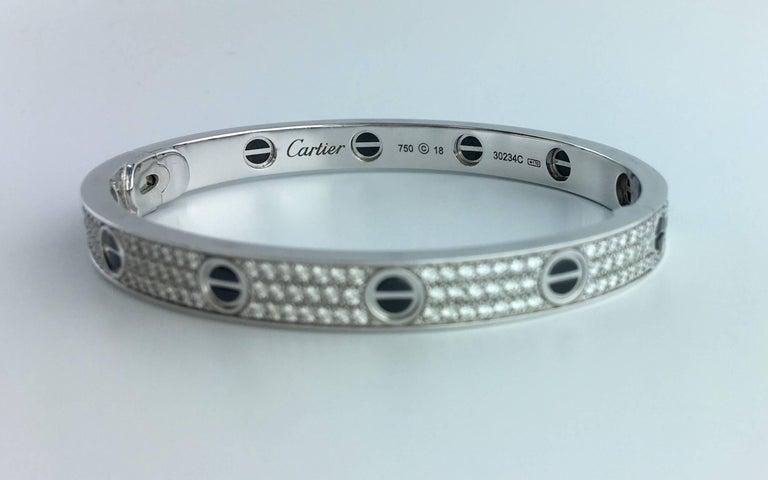 Women's or Men's Cartier Diamond Ceramic Love Bangle Bracelet For Sale