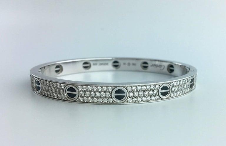 Cartier Diamond Ceramic Love Bangle Bracelet In As New Condition For Sale In Geneva, CH