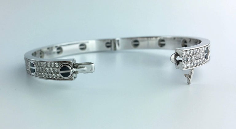 Cartier Diamond Ceramic Love Bangle Bracelet For Sale 1