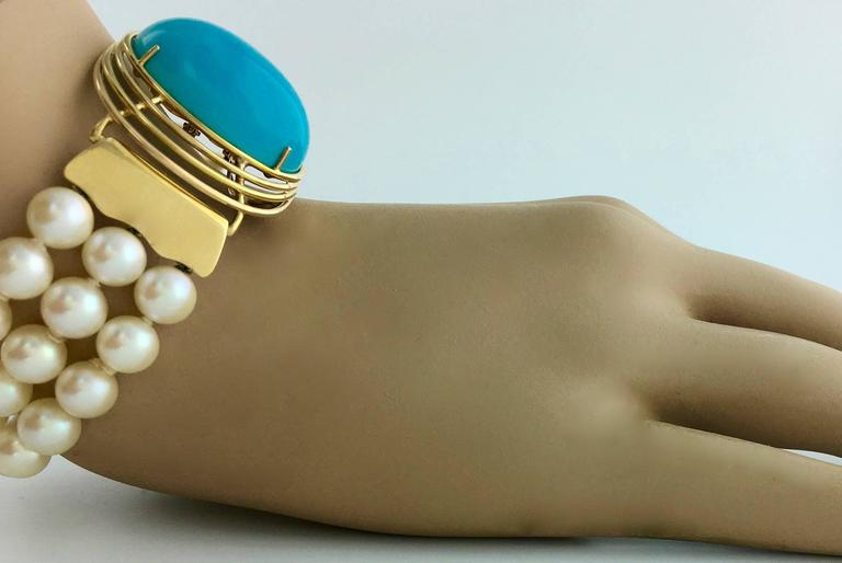 Oversized Turquoise Yellow Gold Pearl Bracelet In New Condition For Sale In Geneva, CH