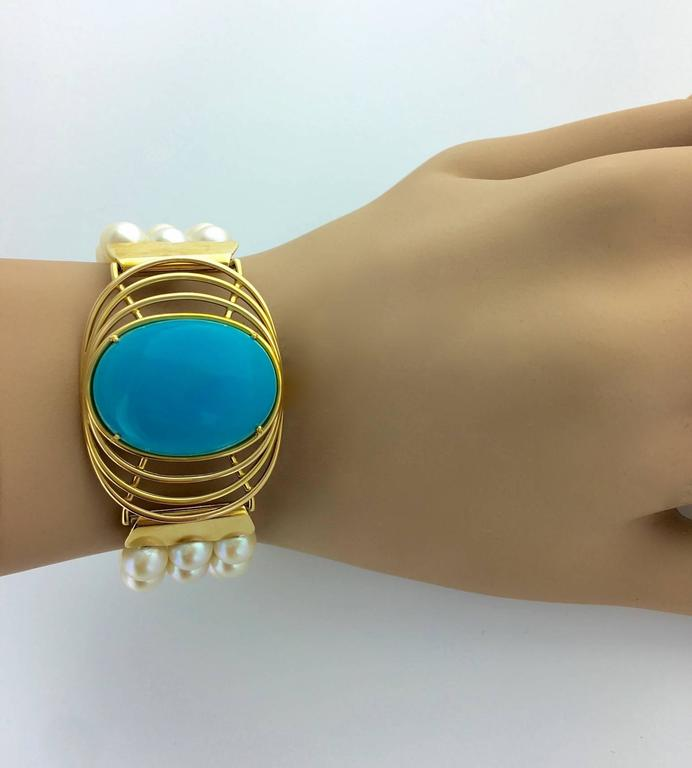 Retro Oversized Turquoise Yellow Gold Pearl Bracelet For Sale