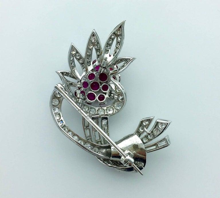 Art Deco 1940S Diamond Ruby Platinum Flower Brooch For Sale