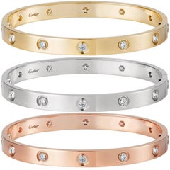 Cartier Love Three Bracelets Trinity Pink, White and Yellow Gold Bangles
