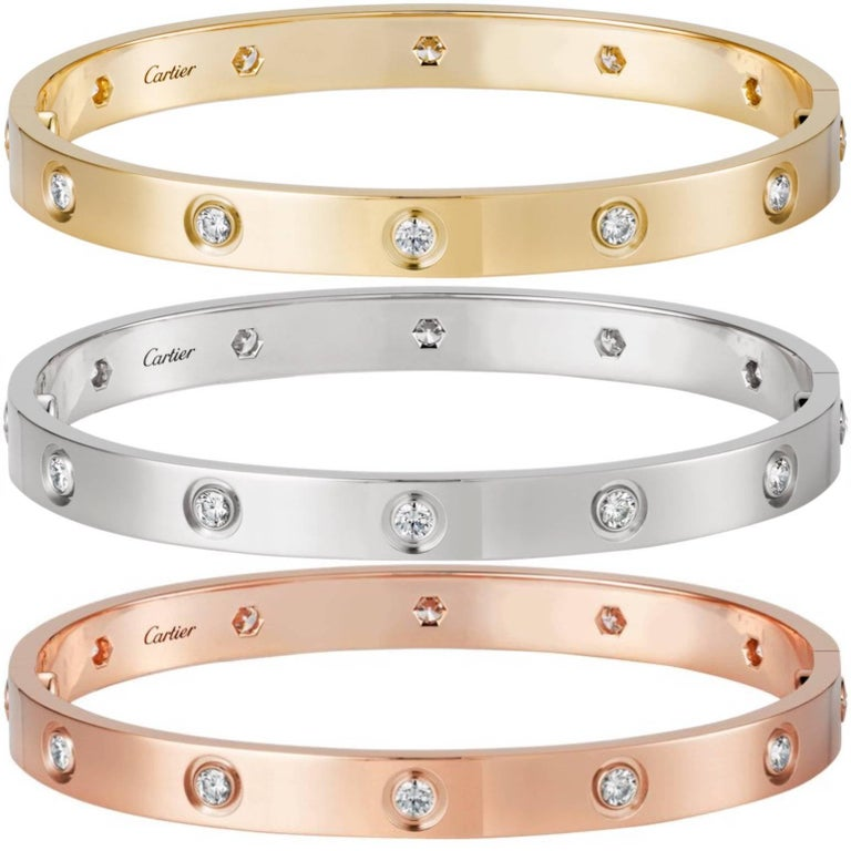 Cartier Love Three Bracelets Trinity Pink, White and Yellow Gold Bangles  1