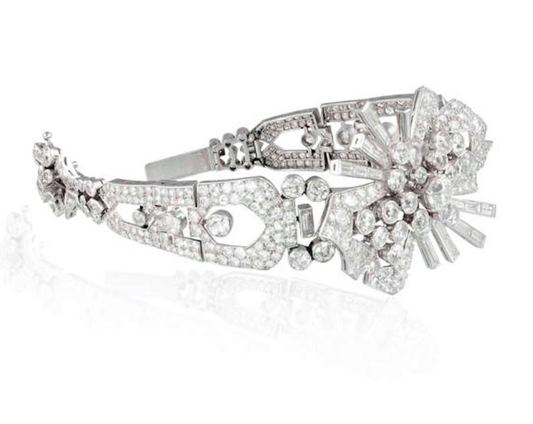 Women's or Men's Art Deco Diamond and Platinum Bracelet Brooch Combination For Sale