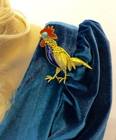 Jean Claude Champagnat Diamond Lapis Lazuli Turquoise Gold Rooster Brooch