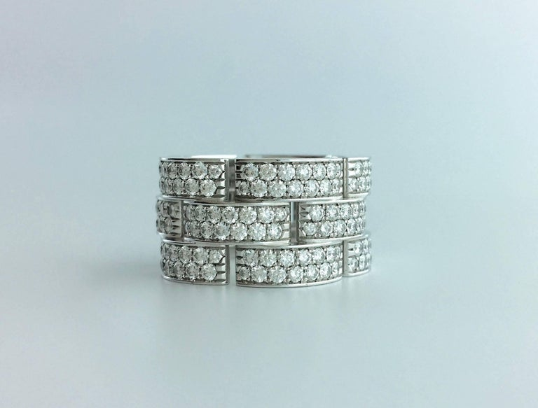 Cartier Panther Diamond White Gold Band Ring In As new Condition For Sale In Geneva, CH