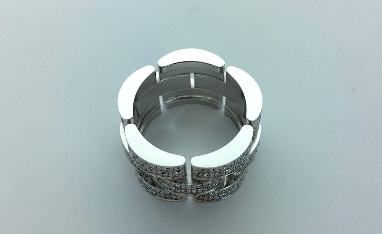 Women's Cartier Panther Diamond White Gold Band Ring For Sale