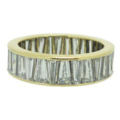 4.00 Carat Tapered Baguette Diamond Yellow Gold Eternity Ring