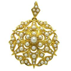 Victorian Antique Pearl Gold Pendant Brooch