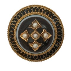 Victorian Sardonyx Mourning Brooch with Seed Pearls