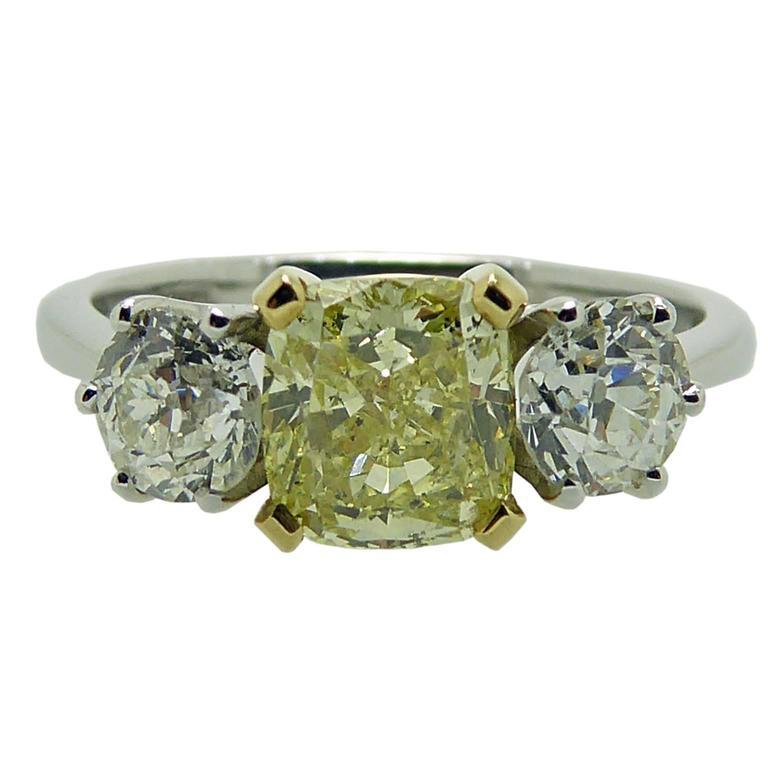 1.17 Carat GIA Certified Cushion Cut Yellow Diamond Ring