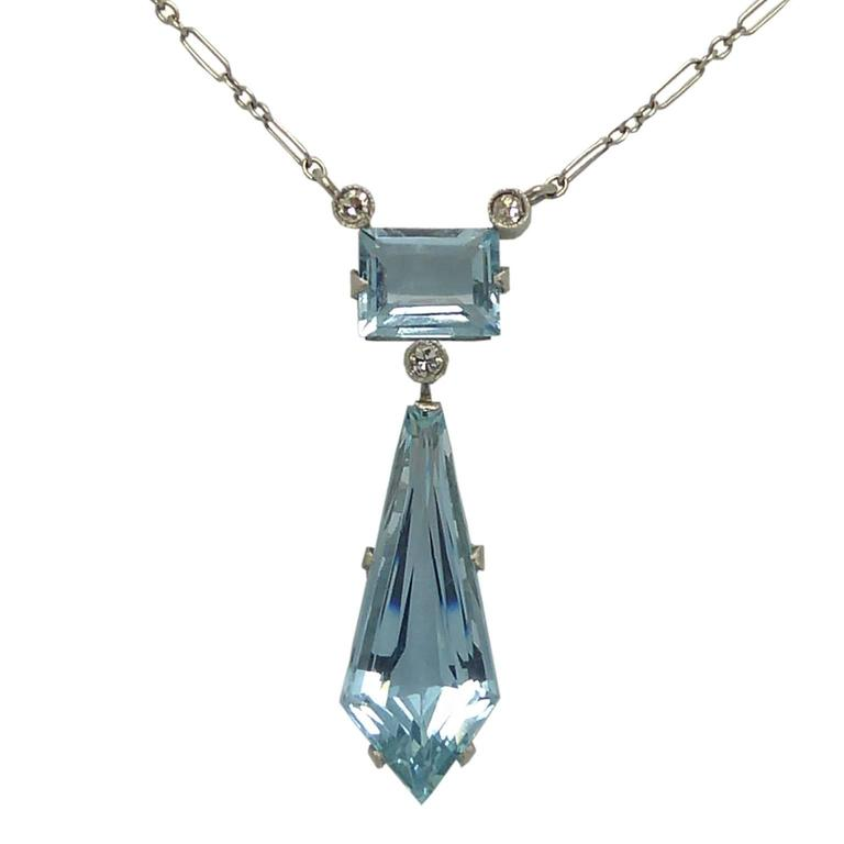 Vintage Aquamarine Diamond Drop Pendant, circa 1940s For Sale