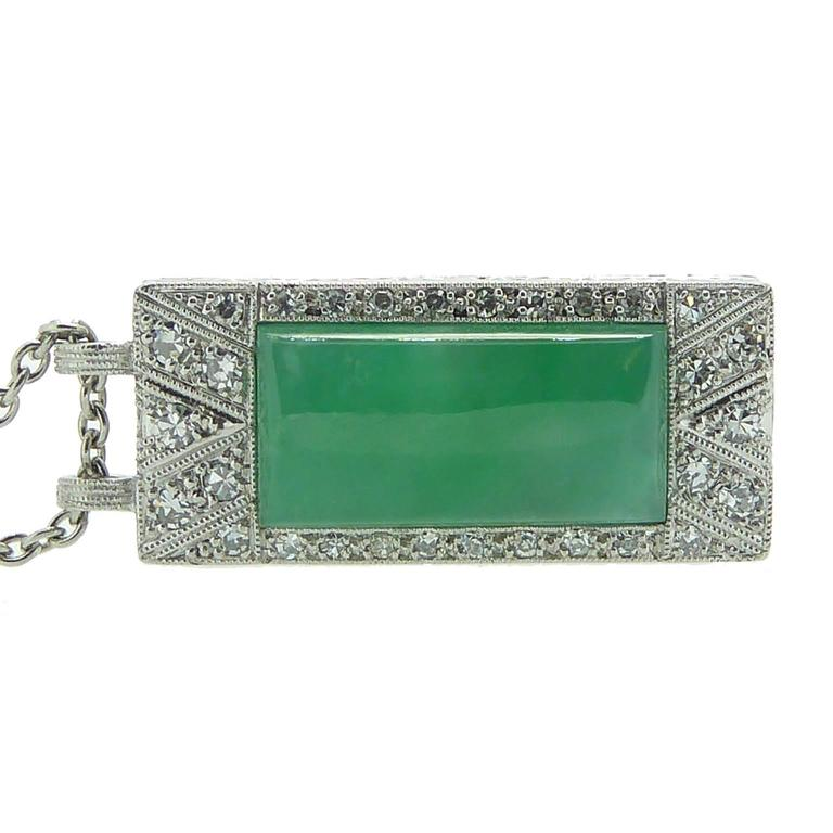 Art Deco Jade Diamond Pendant In New Condition For Sale In Yorkshire, West Yorkshire