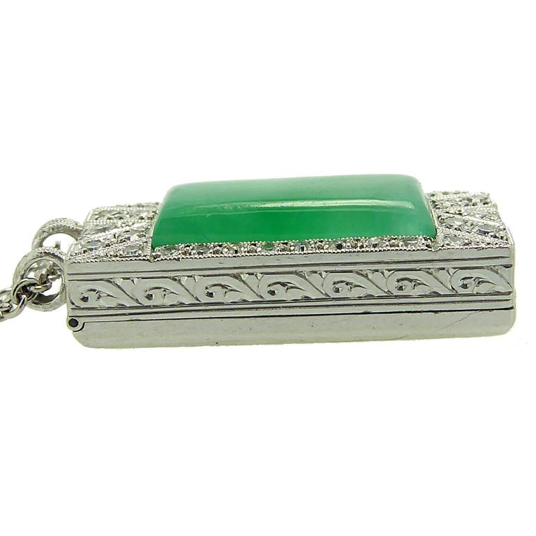 Women's Art Deco Jade Diamond Pendant For Sale