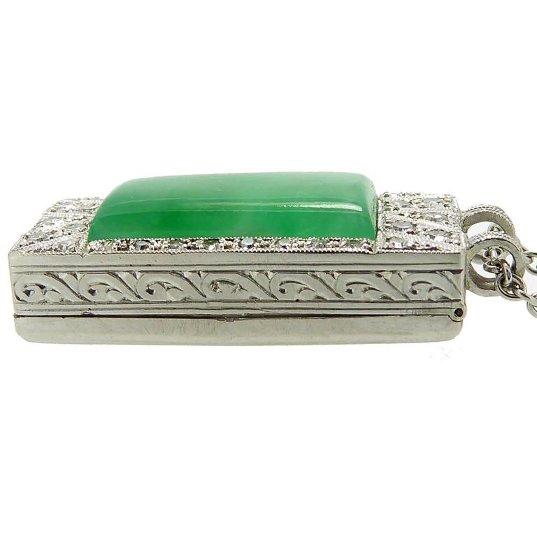 Art Deco Jade Diamond Pendant For Sale 1