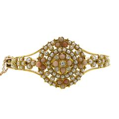 Victorian Diamond Pearl Coral Bangle, 15 Carat Gold
