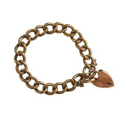 Victorian Curb Link Bracelet with Chased Engraving and Padlock