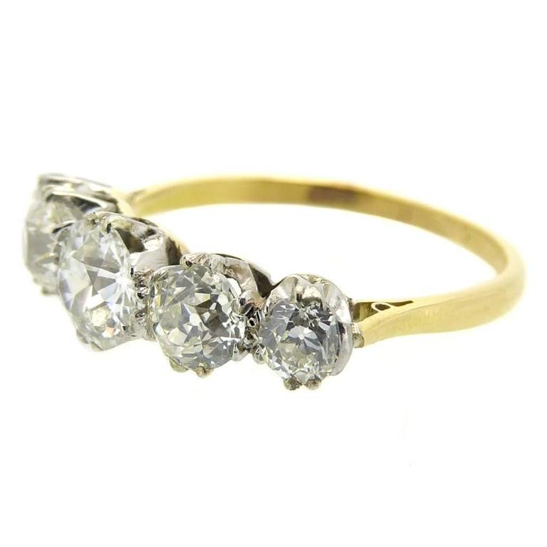 Late Victorian Antique Five Stone Diamond Ring Circa 1900 For