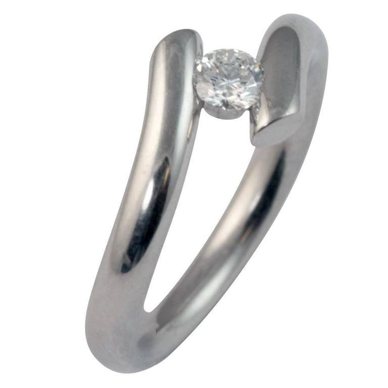 Contemporary Diamond Platinum Solitaire Ring