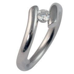 Contemporary Diamond Platinum Solitaire Ring