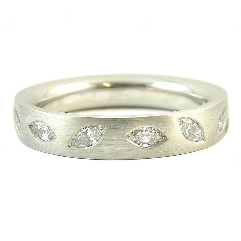 Marquise Diamond Wedding Eternity Ring Platinum Band Uk Award Winning Designer For