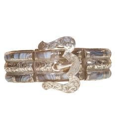 Antique Victorian Scottish Cairngorm Quartz Bracelet Silver Buckle
