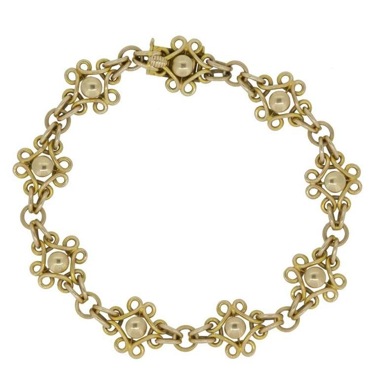 Antique Gold Bracelet Late Victorian Early Edwardian 15 Carat Fancy Links