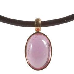 Contemporary Rose Quartz Pendant, Silicone Choker Necklace, Bunz German Design