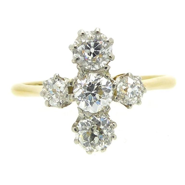 Antique Old European Cut Vintage Diamond Ring, Engagement, circa 1900-1910