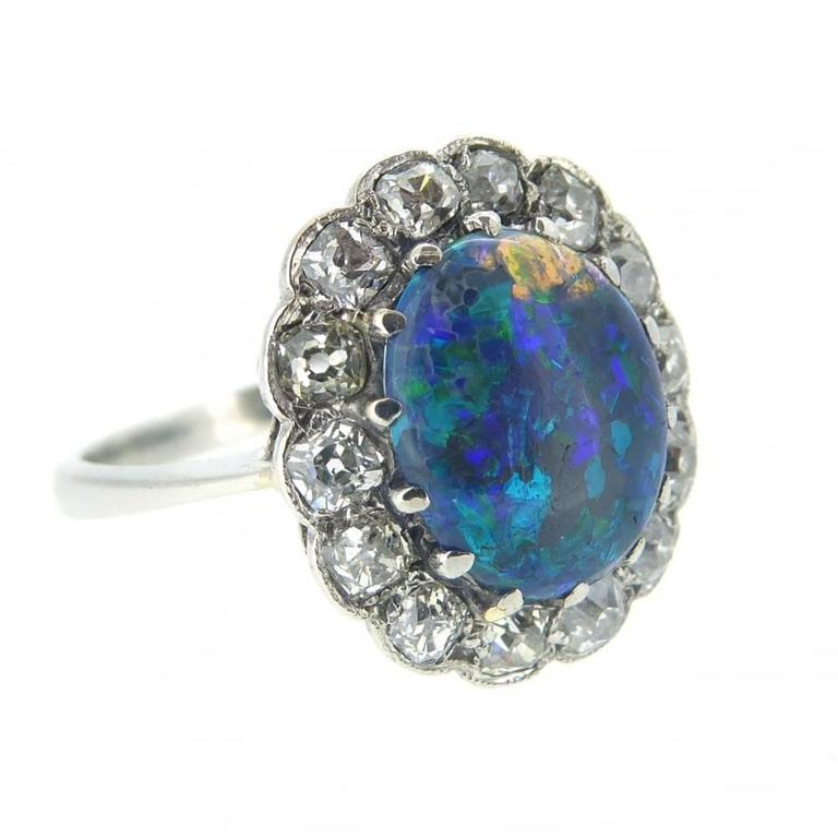 Vintage black opal diamond cluster ring stamped platinum for Diamond stamp on jewelry