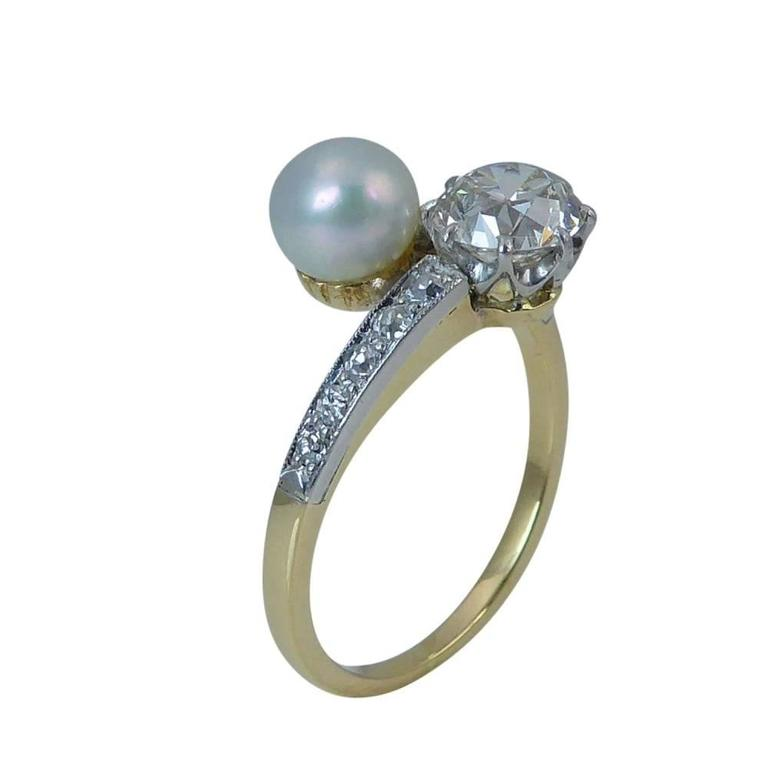 Old European Cut Diamond and Cultured Pearl Vintage Dress Ring Two Stone For