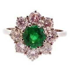 Vintage Emerald and Diamond Cluster Style Engagement Ring 18 Carat White Gold
