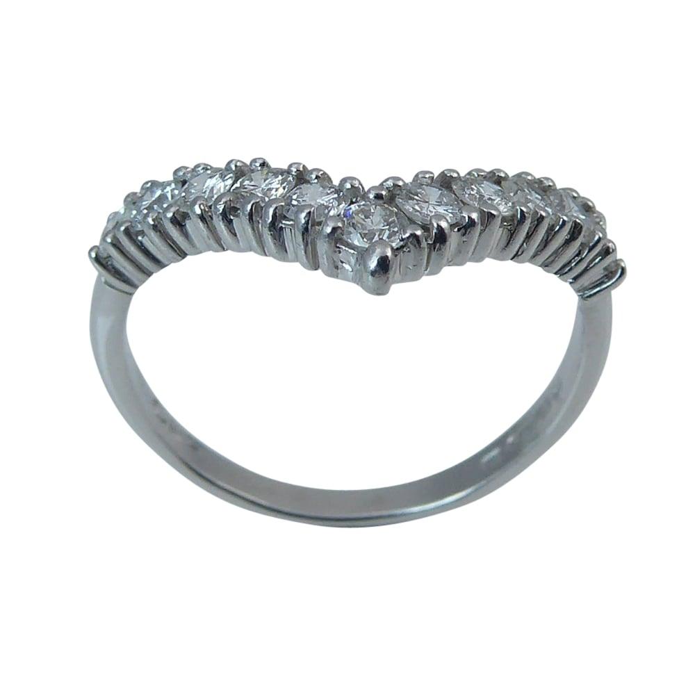 Vintage 1980s Diamond Wishbone Ring 18 Carat White Gold at 1stdibs