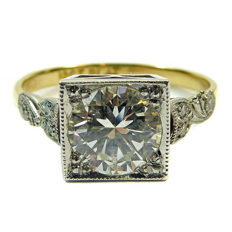 Vintage 1950s Diamond Solitaire Ring, 1.31 Carat