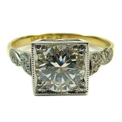 Vintage 1950s Diamond Solitaire Ring, 1.31 Carat