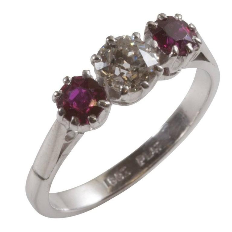 Old Brilliant Cut Diamond and Ruby Diamond Engagement Ring For Sale