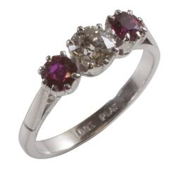 Old Brilliant Cut Diamond and Ruby Diamond Engagement Ring