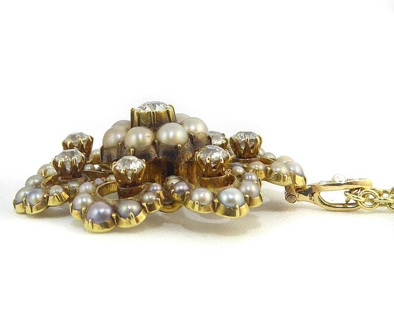 Antique Old Cut Diamond and Pearl Pendant, Victorian Circa 1890s 2