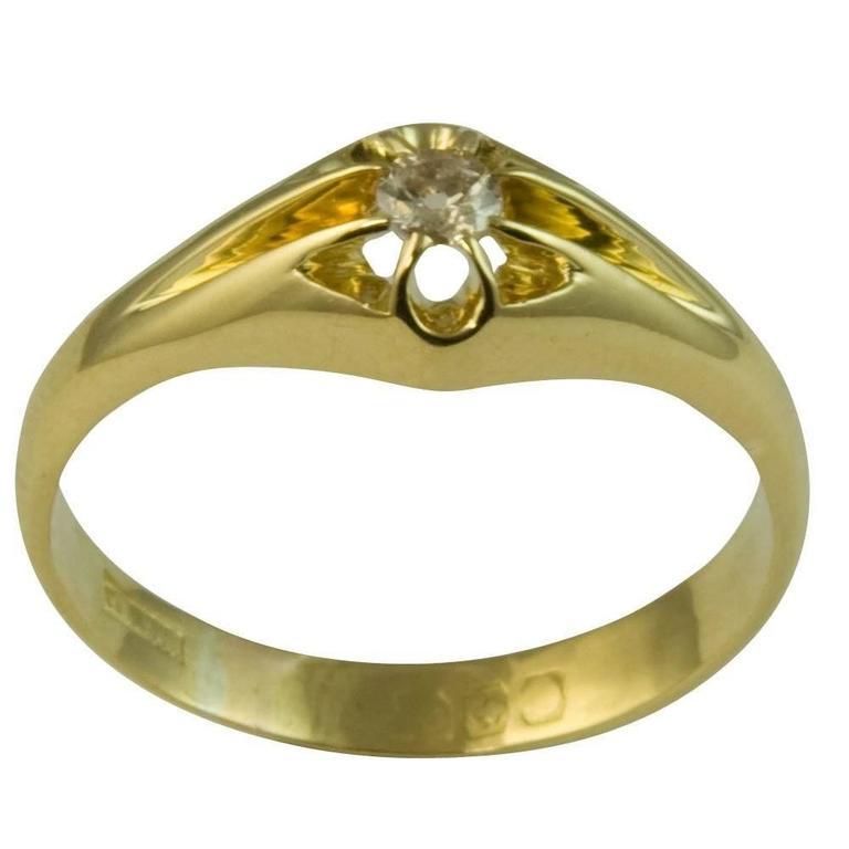 Antique Edwardian Old Cut Diamond Ring Gents Gyspy Claw Setting