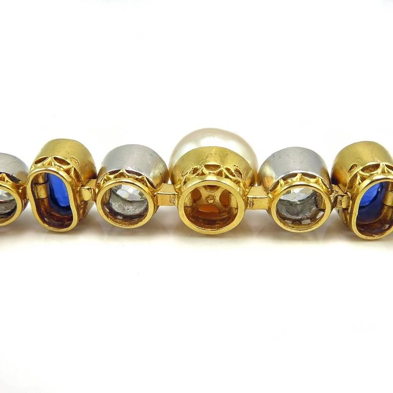Art Deco Diamond, Sapphire & Natural Pearl Line Bracelet, 18Ct Gold & Platinum In Excellent Condition For Sale In Yorkshire, West Yorkshire