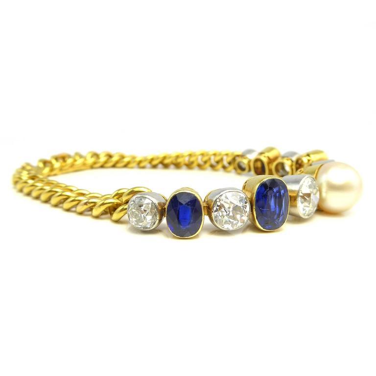 Women's  Art Deco Diamond, Sapphire & Natural Pearl Line Bracelet, 18Ct Gold & Platinum For Sale