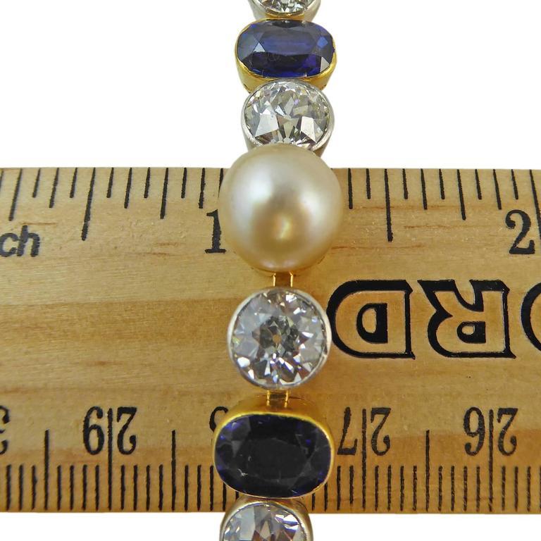 Art Deco Diamond, Sapphire & Natural Pearl Line Bracelet, 18Ct Gold & Platinum For Sale 1