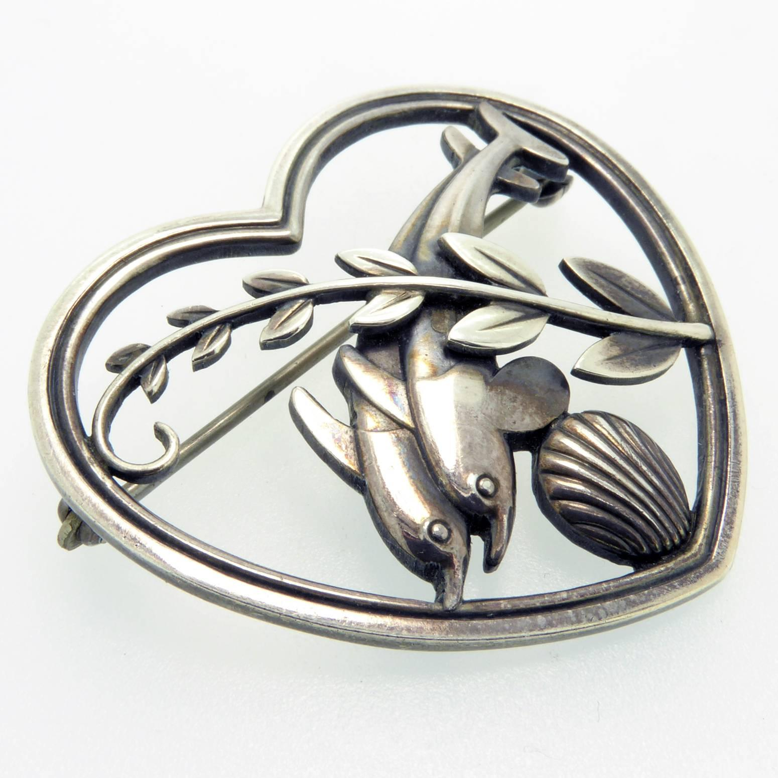 06870d8fa035 Georg Jensen Vintage Silver Brooch, Leaping Dolphins, Mid-20th Century,  Danish at 1stdibs