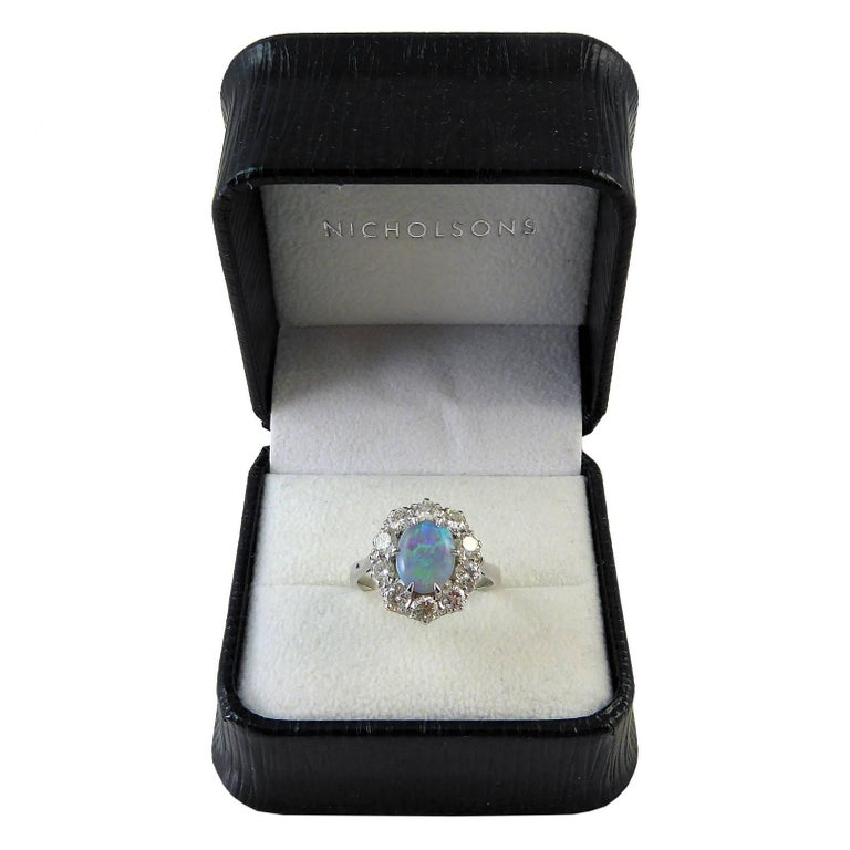 Women's Pre-Owned Opal and Diamond Cluster Ring For Sale