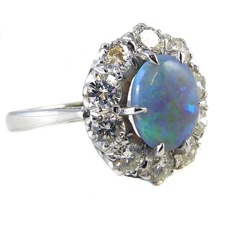 Pre-Owned Opal And Diamond Cluster Ring For Sale At 1stdibs